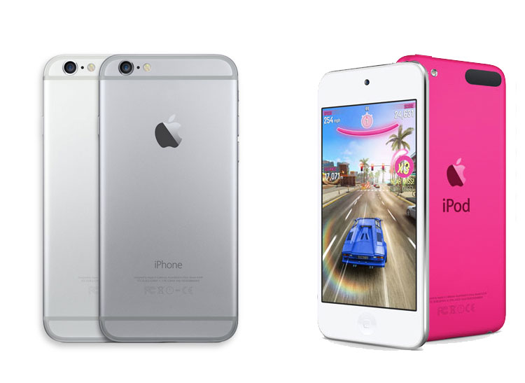 Silver and Space Gray iPhone 6 next to silver and pink iPod touch
