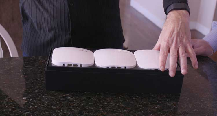 Photo of the Eero router three-pack.