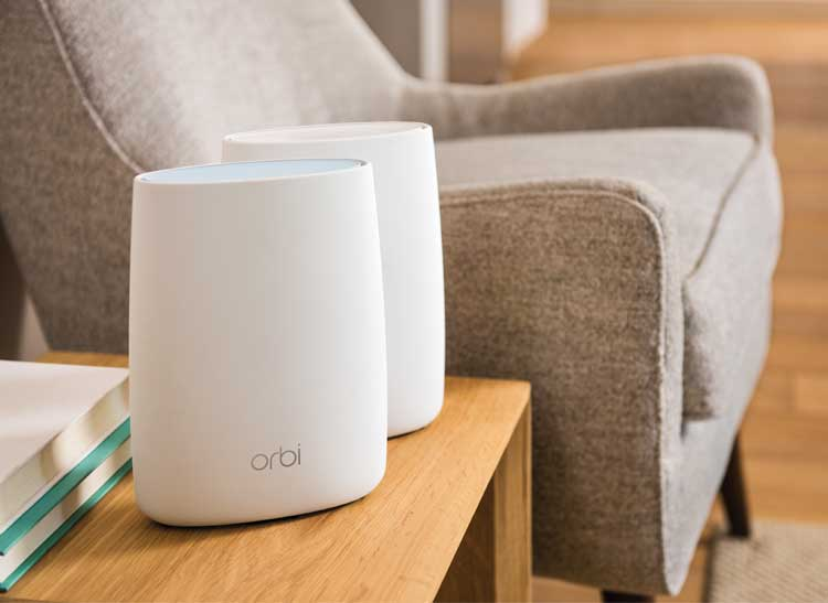 the Orbi router and its satellite.