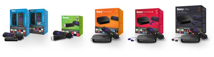 Photo of new Roku player retail boxes.