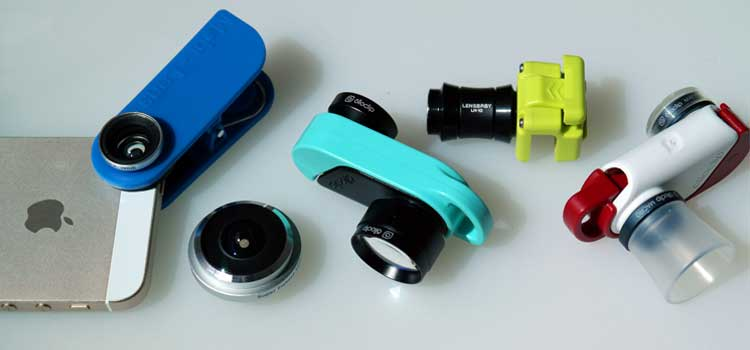 A picture showing five mobile camera lens options.
