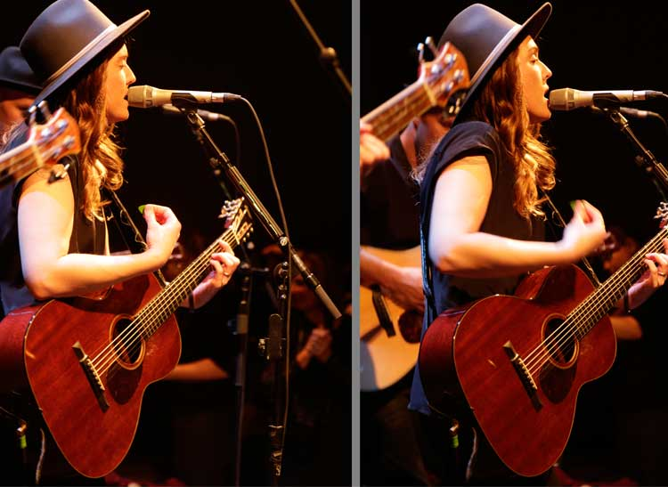 singer Brandi Carlile in two images that illustrate the art of concert photography