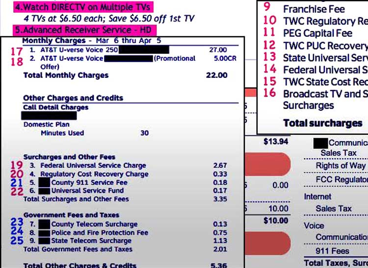 A close-up of a typical monthly cable bill and pay-TV bill, highlighting the many cryptically labeled extra fees and charges.