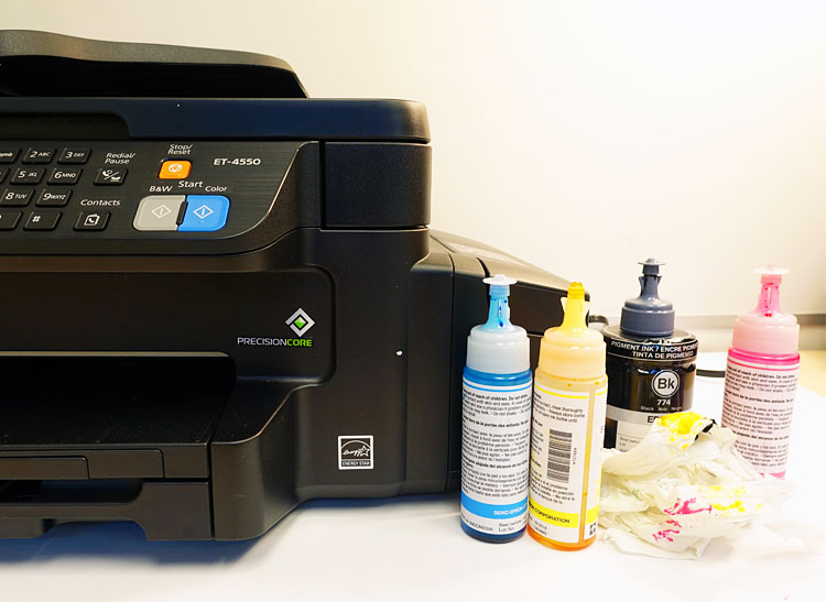 The Epson Workforce ET-4550 EcoTank all-in-one and ink bottles