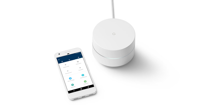 A Google WiFi router module with a smartphone