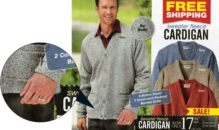 An ad with a man in a sweater, but a close-up of the man's hand shows he has six fingers, the result of bad digital image editing work.