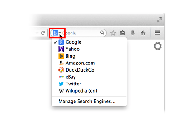 how to change new tab search engine in firefox