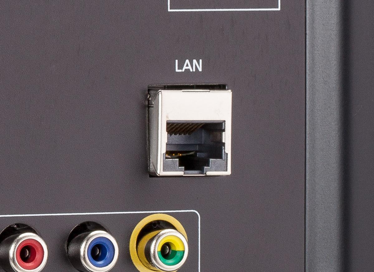 Photo of a TV's Ethernet (LAN) jack.