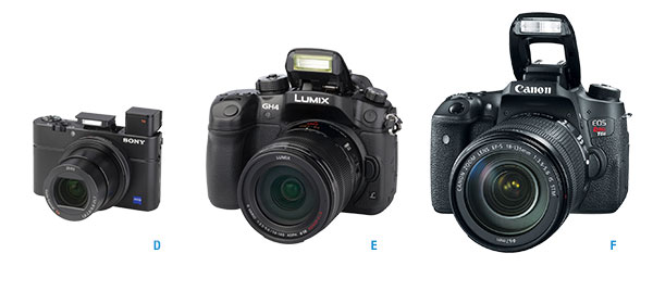Three cameras in a row: An advanced point-and-shoot, a mirrorless model, and an SLR.