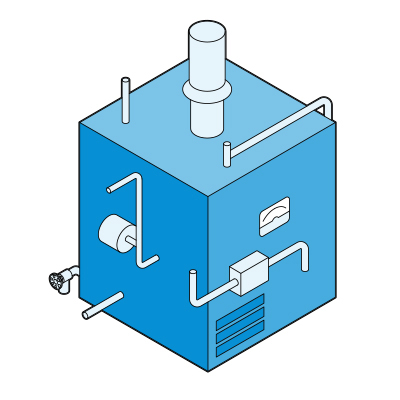 Illustration of a gas-fired boiler.