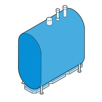Illustration of an oil-fired boiler.