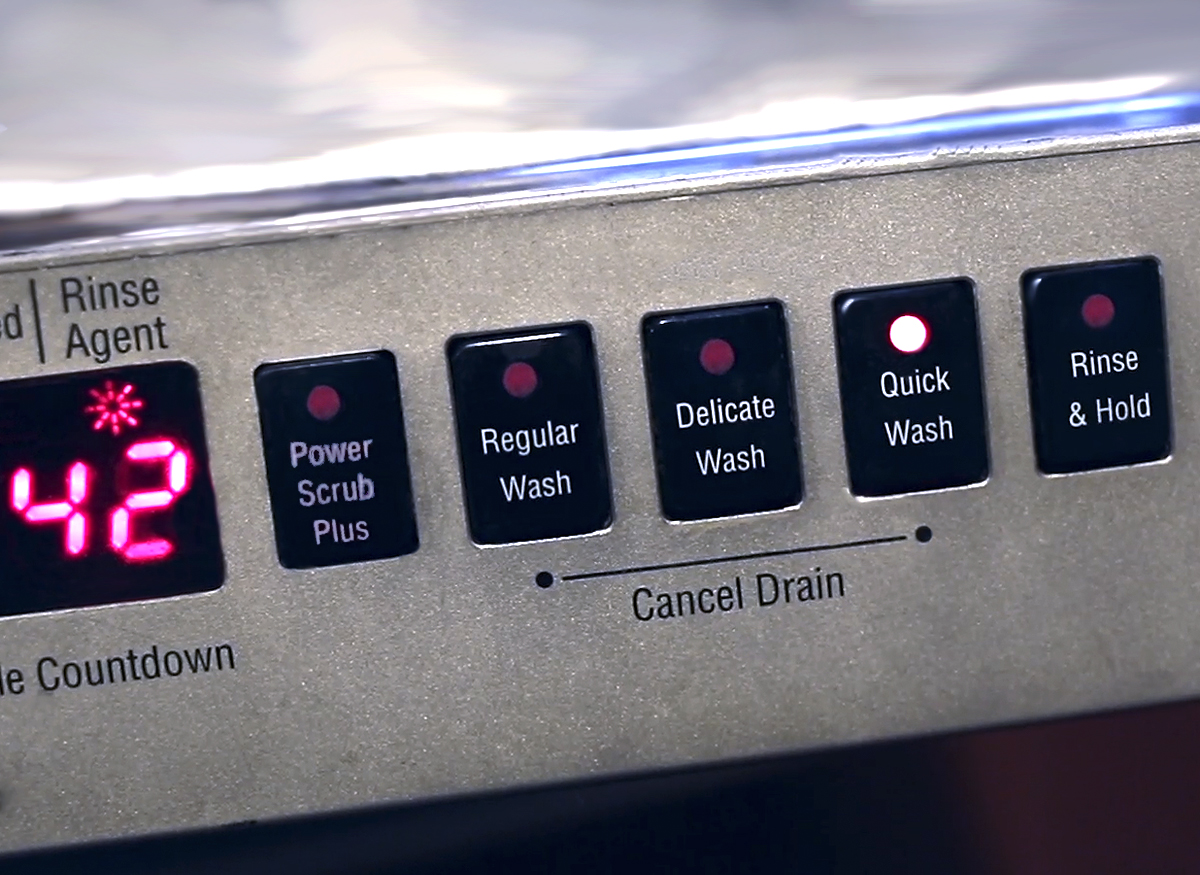 Photo of the special wash cycle settings on a dishwasher control panel.
