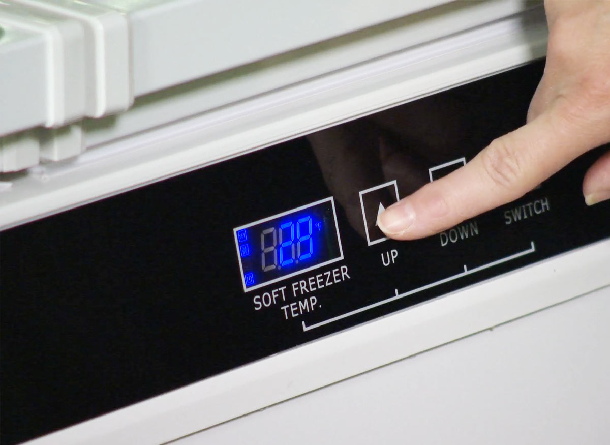 Photo of a freezer touchpad with a soft-freeze option.