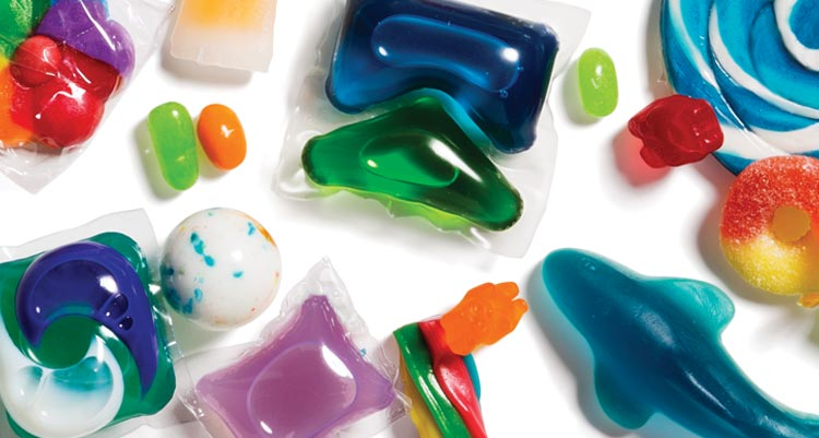 Photo showing how similar looking detergent pods and candy really are.