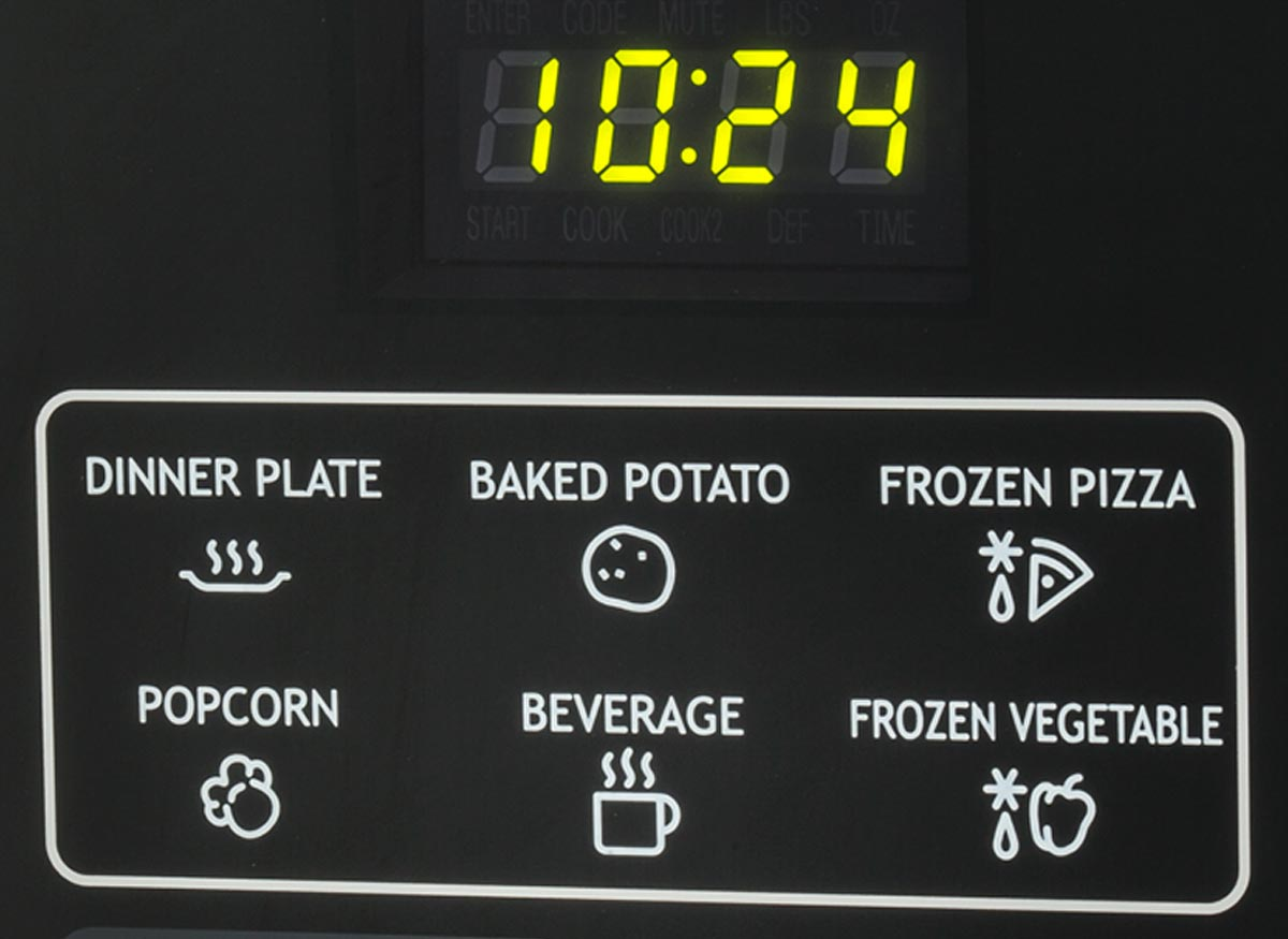 Photo of a microwave-oven shortcut keys.