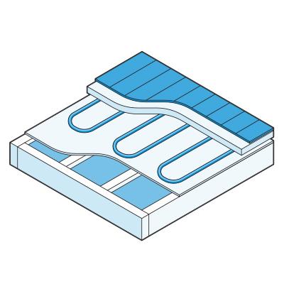 Illustration of hydronic radiant floor heating.