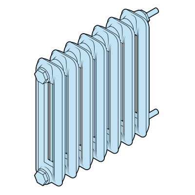 Illustration of a steam radiator.