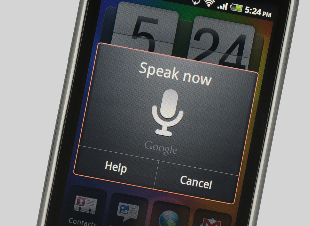 Picture of a voice command pop-up window on a smartphone screeen.