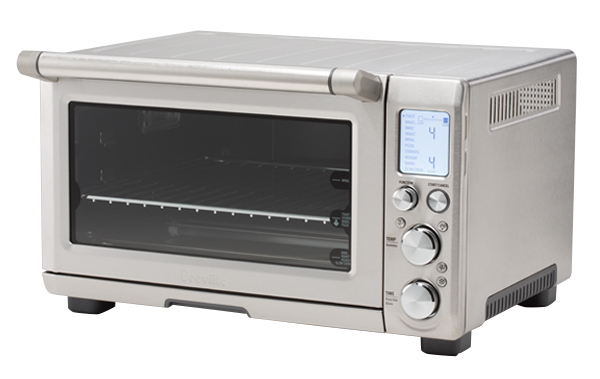 A chrome-colored toaster oven.