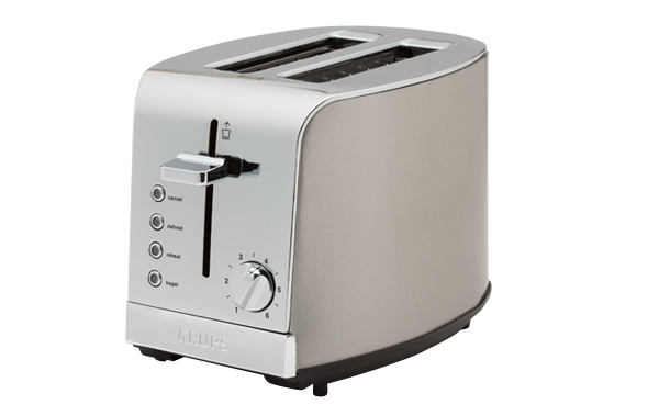 Photo of a simple, two-slice model toaster.