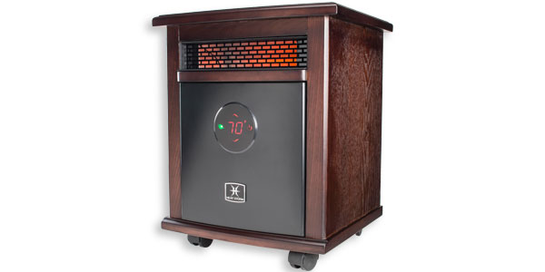 A Large Space Heater With Dark Wood Panels And A Fake Flame Display.