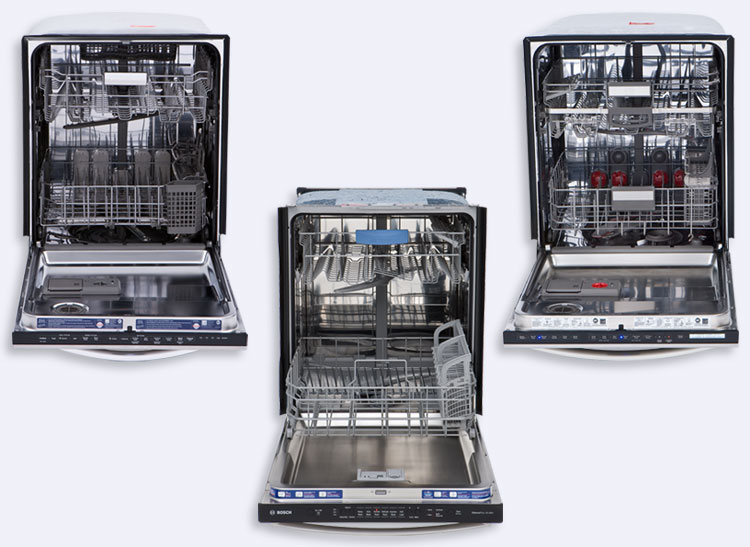 Comparison of three dishwasher loading schemes.