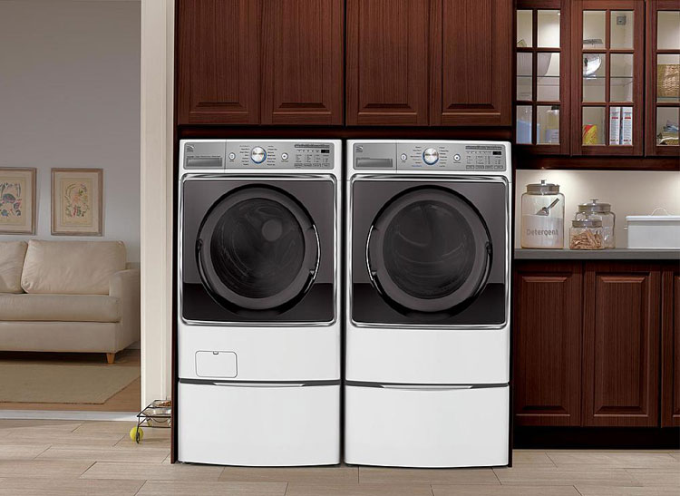 A matching front-loader and dryer.