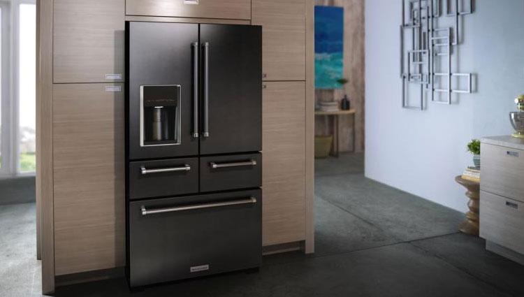 The KitchenAid KRMF706EBS 5-door refrigerator.