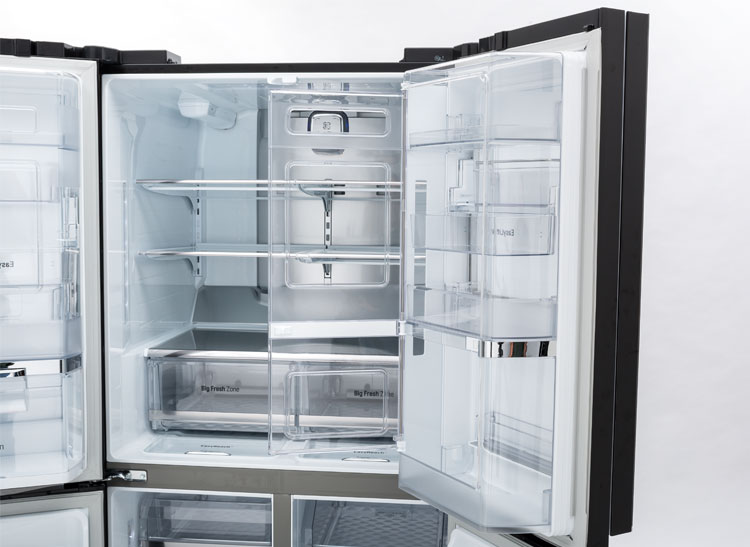 Inside The LG LPCS34886C 4 Door Refrigerator.