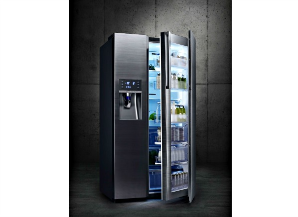 In The 36 Inch Samsung RH22H9010SR, $4,999, The Door In Door Section Runs  The Height Of The Fridge. This Leaves Several Compartments You Can Access  (called ...