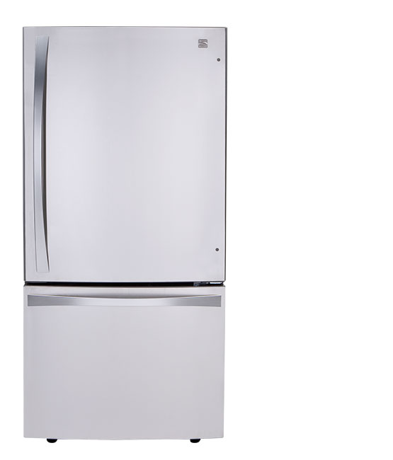 A bottom-freezer refrigerator.
