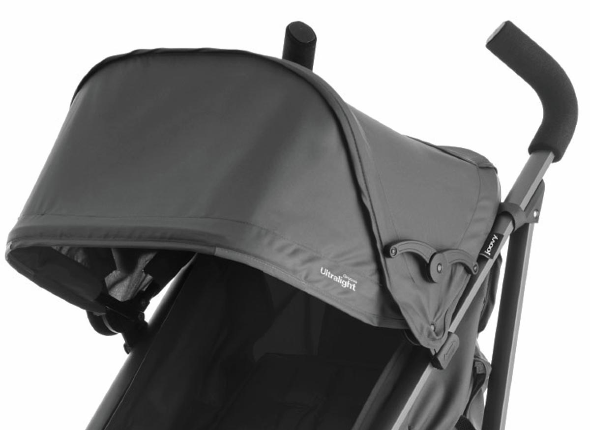 Photo of an open canopy on a stroller.
