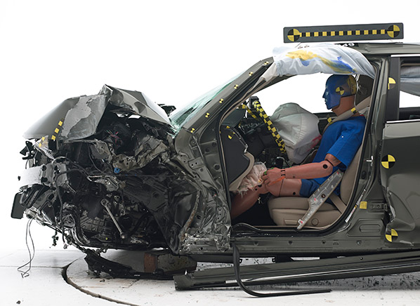 2017 Toyota Camry After Crash Test Showing The Occupant Is Reasonably Well Protected