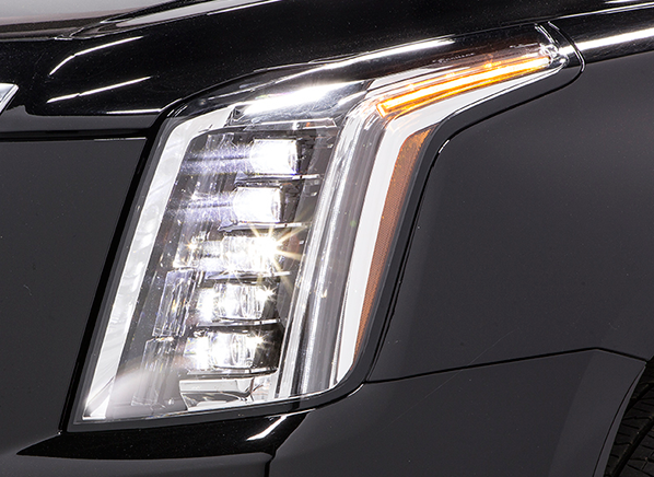 cadillac escalade led headlights outshine all others. Black Bedroom Furniture Sets. Home Design Ideas