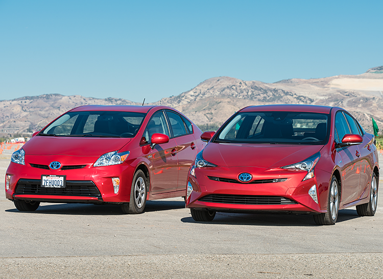 2015 Toyota Prius alongside the redesigned 2016 model