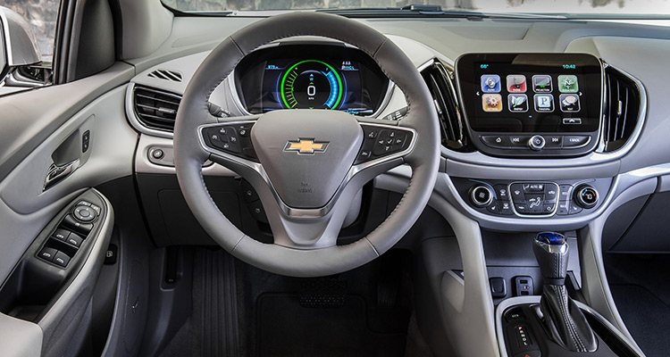 Volt vs. Prius: The redesigned Chevrolet Volt has a conventional, more functional interior than the first-generation version.