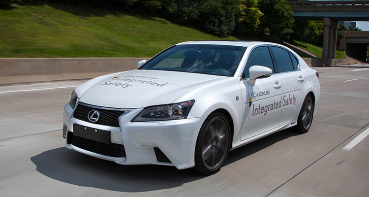 Lexus demonstrates its automated highway driving assist system.