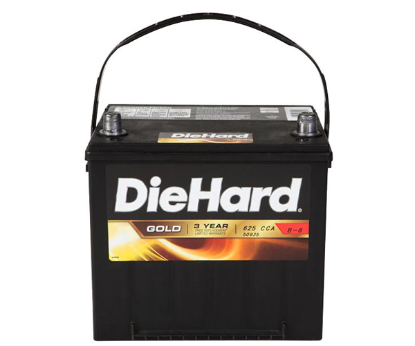 "Photo of a lead-acid, or ""regular"" car battery."