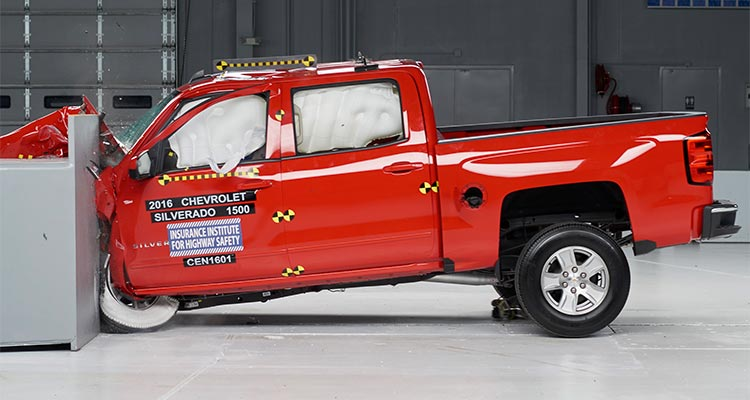 2016 Chevrolet Silverado small-overlap crash test.
