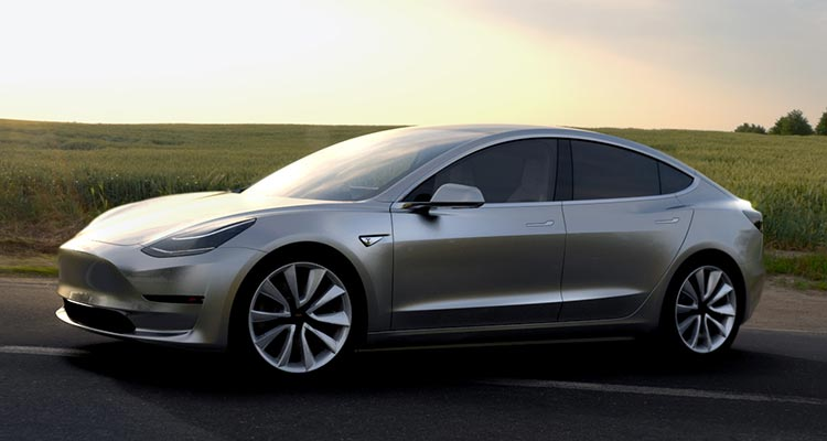 2018 Tesla Model 3 Electric Car driving