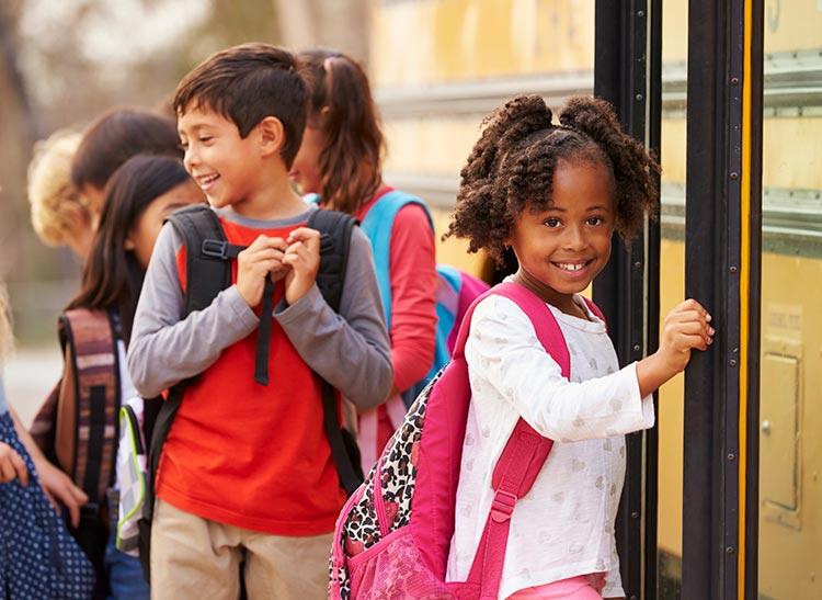 Kids entering school bus