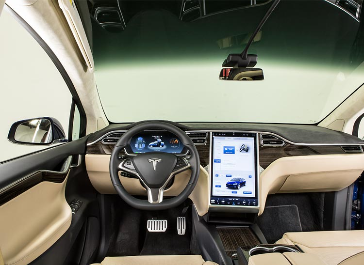 Tesla Model X dashboard and massive touchscreen