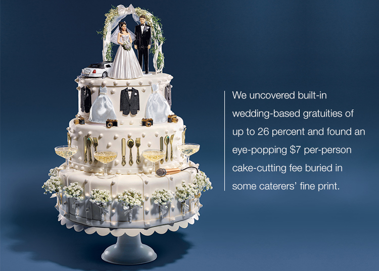 Image of a wedding cake with plastic camera, glass, Limo and bride and groom
