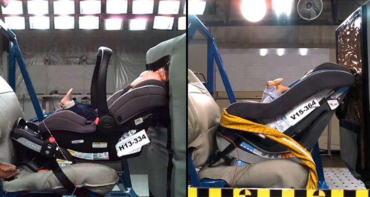 Convertible child seat testing, front view