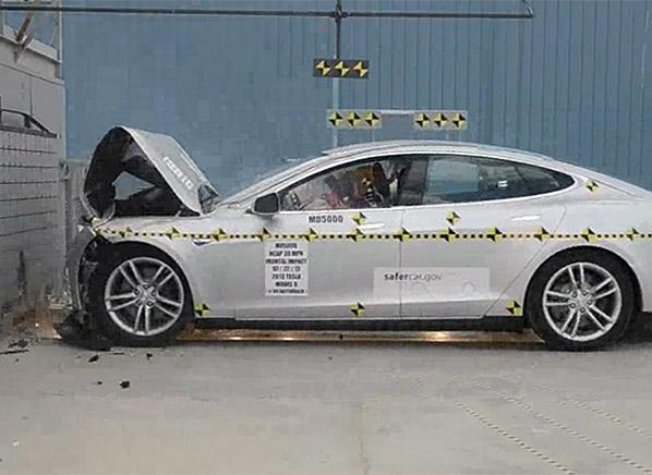 The Tesla Model S During A Nhtsa Crash Test