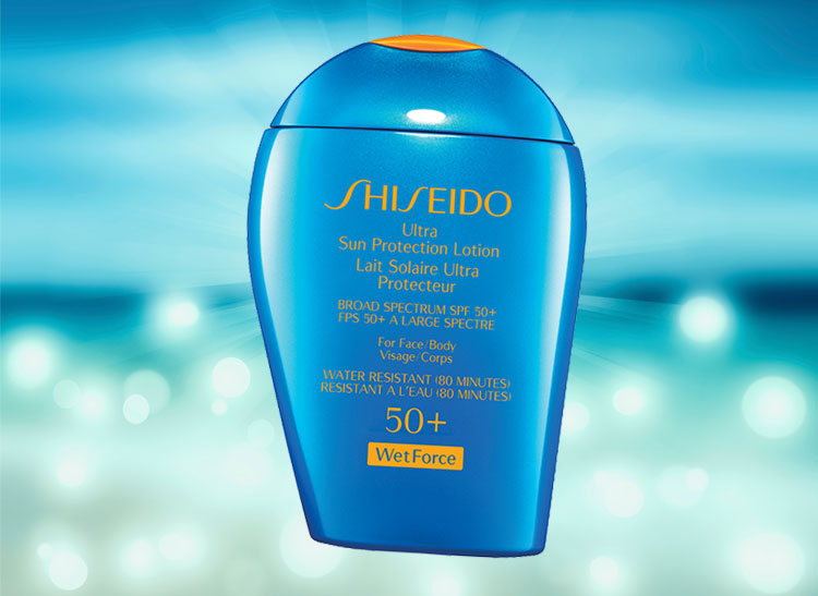 aede5ede3d159e On the back of the box, the very pricey ( 40 for a 3.3 ounce bottle)  Shiseido WetForce Ultimate Sun Protection Lotion SPF50+ makes the following  promise  ...