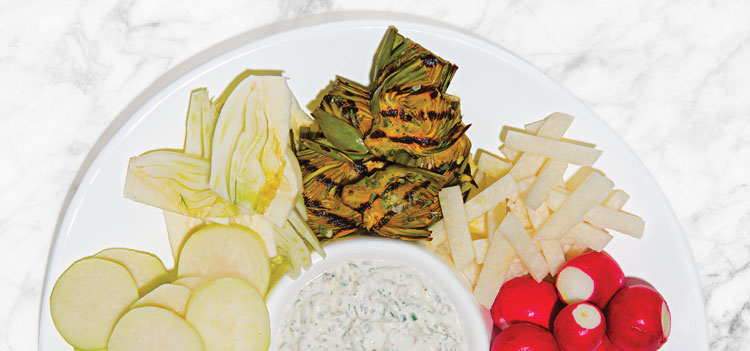 Not-Your-Usual Veggie Platter With Greek Yogurt Dip is an easy appetizer.