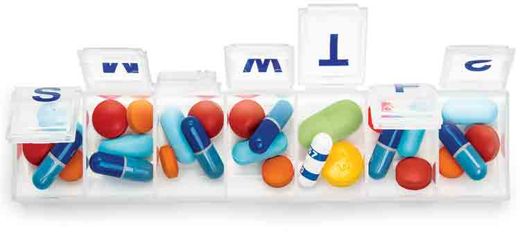 Medication errors. Image of pill organizer.
