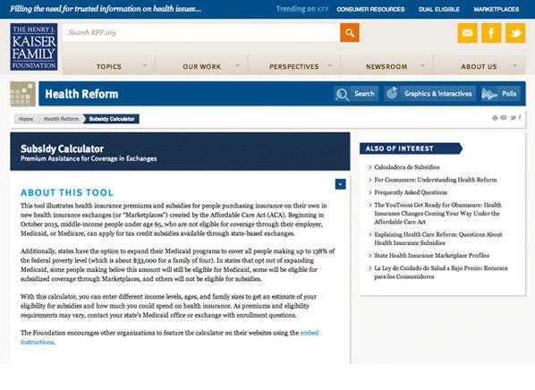 Obamacare subsidies calculator