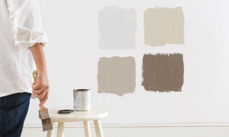 A Woman Standing Back, Assessing Four Test Patches Of Paint To See Which  Color She